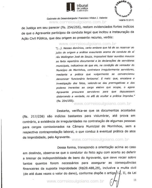 Página 11 do Relatório e Voto dos desembargadores do TJ/GO
