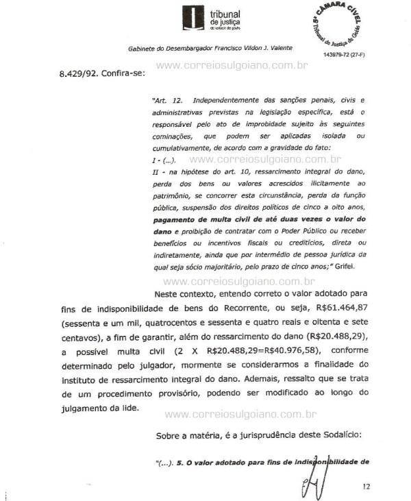 Página 12 do Relatório e Voto dos desembargadores do TJ/GO