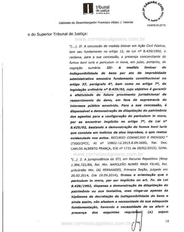 Página 14 do Relatório e Voto dos desembargadores do TJ/GO