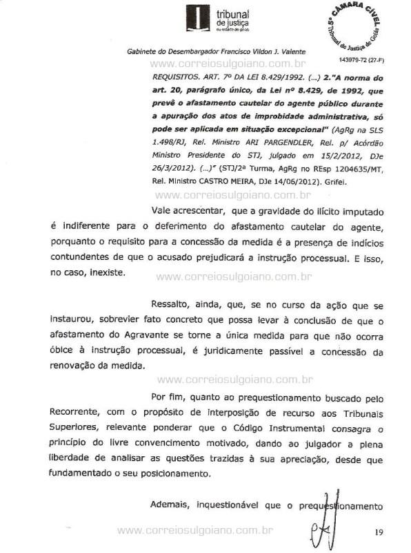 Página 19 do Relatório e Voto dos desembargadores do TJ/GO