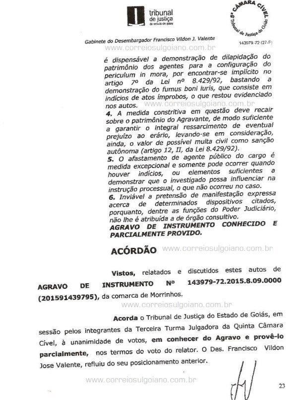 Página 23 do Relatório e Voto dos desembargadores do TJ/GO