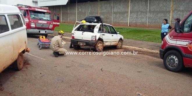 Mais um acidente em Morrinhos – condutor teve fraturas e escoriações