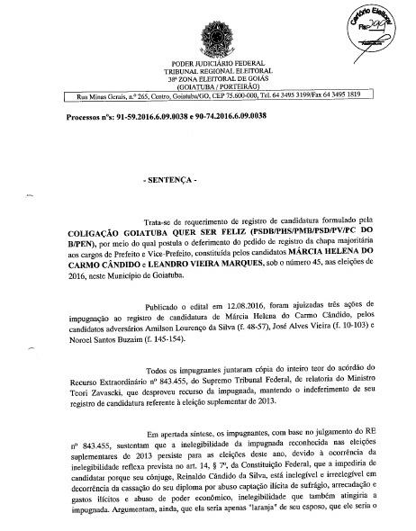 MÁRCIA PODE SER CANDIDATA: FOLHA Nº 299 DA DECISÃO JUDICIAL