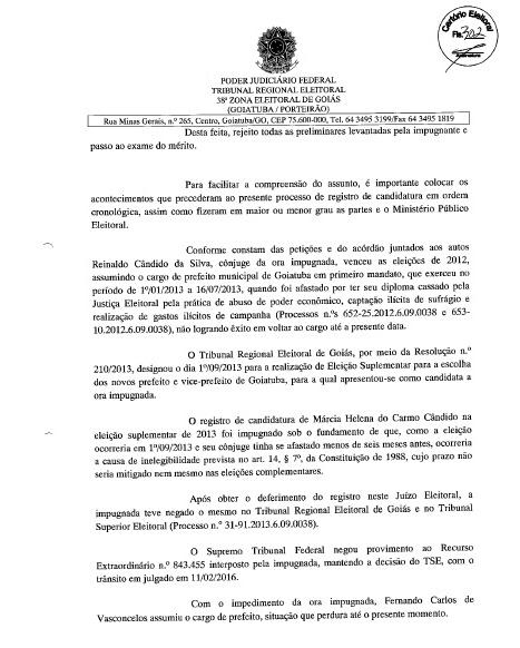 MÁRCIA PODE SER CANDIDATA: FOLHA Nº 302 DA DECISÃO JUDICIAL