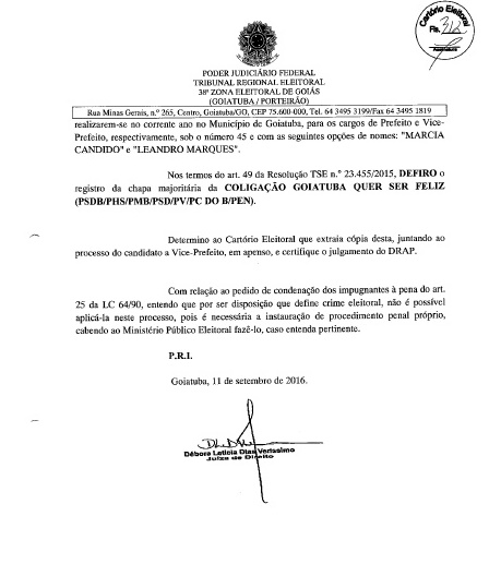 MÁRCIA PODE SER CANDIDATA: FOLHA Nº 312 DA DECISÃO JUDICIAL