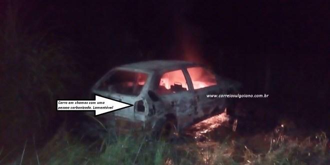 MISTÉRIO: Homem é encontrado carbonizado dentro de carro em chamas em Morrinhos