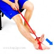 Puxar o pé para baixo com resistência do elástico