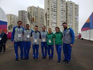 Seleção brasileira de triathlon na Vila do Pan em Lima. (Divulgação)