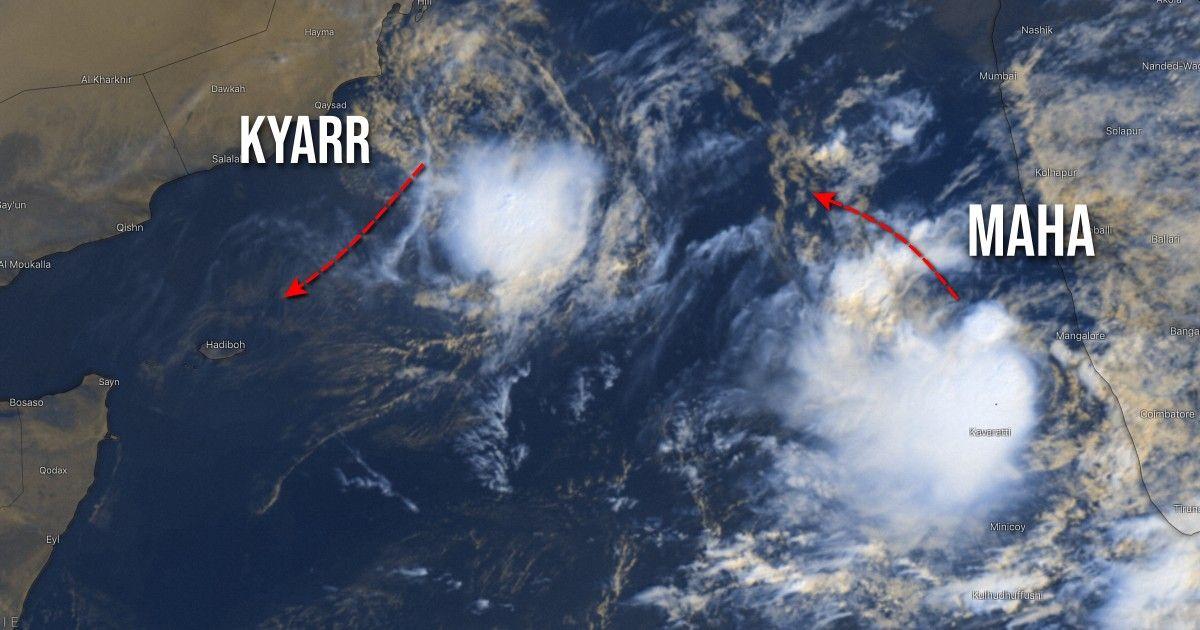 immagine 1 articolo meteo tropici prima volta due cicloni su mare arabico kyarr maha