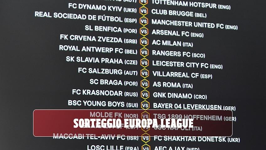 Sorteggi Europa League: Stella Rossa-Milan, Braga-Roma e Granada-Napoli