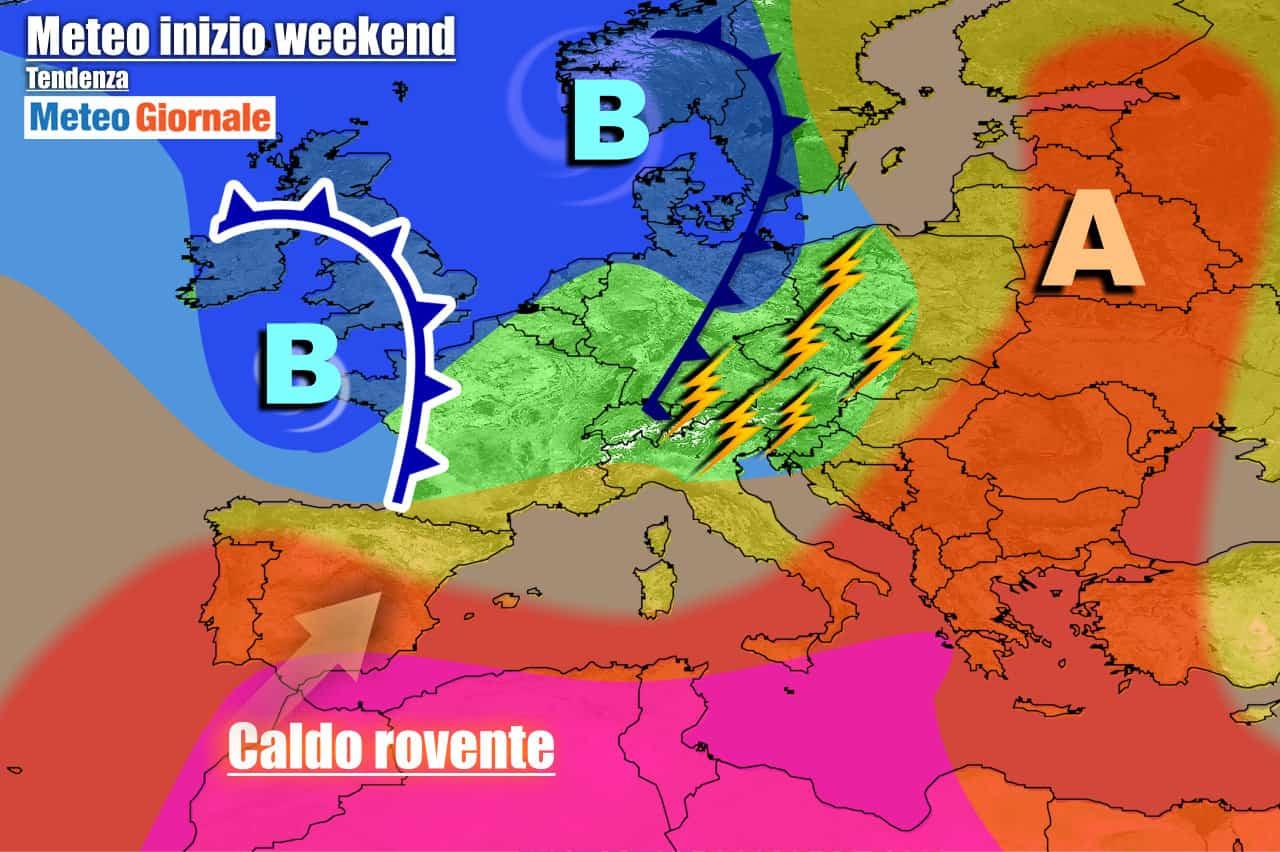 meteogiornale previsioni 7 giorni 5 - METEO ITALIA 7 Giorni. Forti TEMPORALI e NUBIFRAGI al Nord, CALDO ATROCE al Sud, oggi anche oltre 42°C