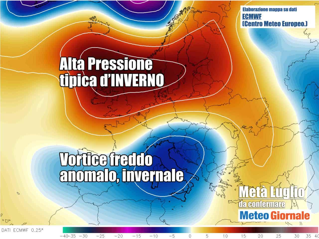 meteo stop estate con anomalie pesantissime - STOP Meteo Estate Goccia d'Aria Fredda dalla Rotta Italia. Rischio Temporali