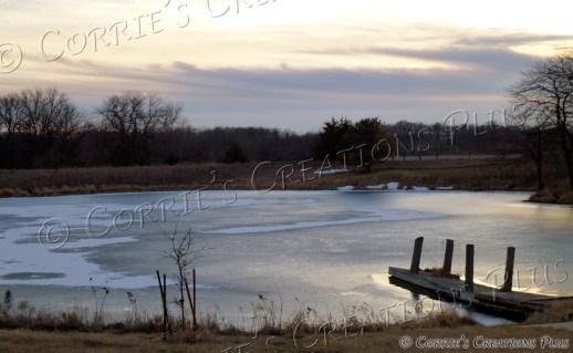 Pier on frozen pond in southeastern Nebraska