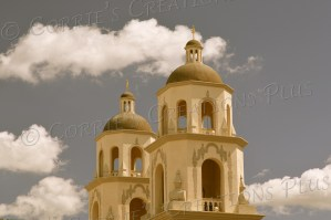 A sepia photo of St. Augustine's Cathedral in downtown Tucson
