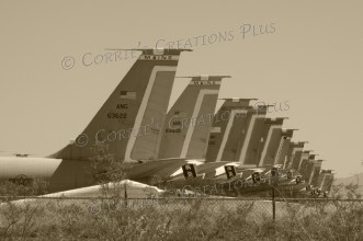 Sepia version of the boneyard planes in Tucson