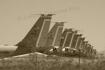 Sepia version of the boneyard planes in Tucson