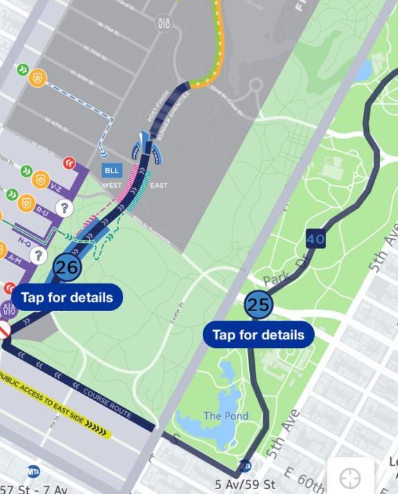 Översikt - målgången i Central Park