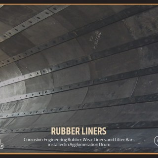 Corrosion Engineering Rubber Wear Liners and Lifter Bars installed in Agglomeration Drum