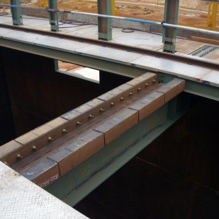 CorroCube Wear Bars installed in an gold ore bin.