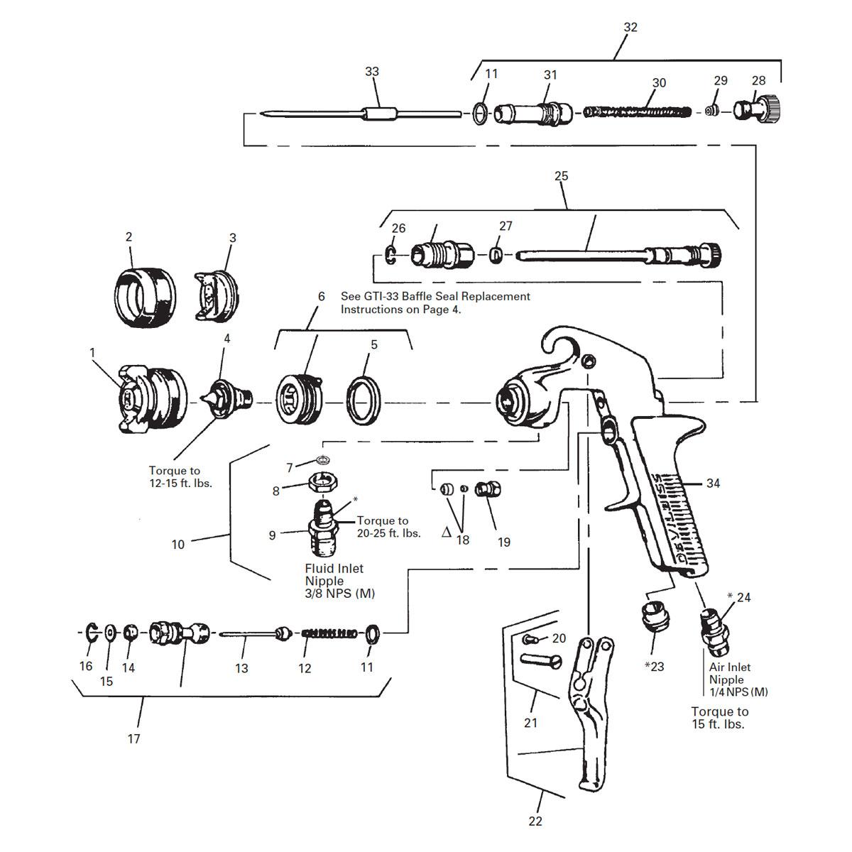 Drawings Guns Devilbiss Parts