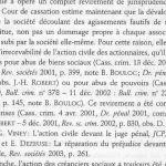 D'après le livre de Michel Veron, irrecevabilité de l'action civile des associés pour les pousuites d'abus de biens sociaux