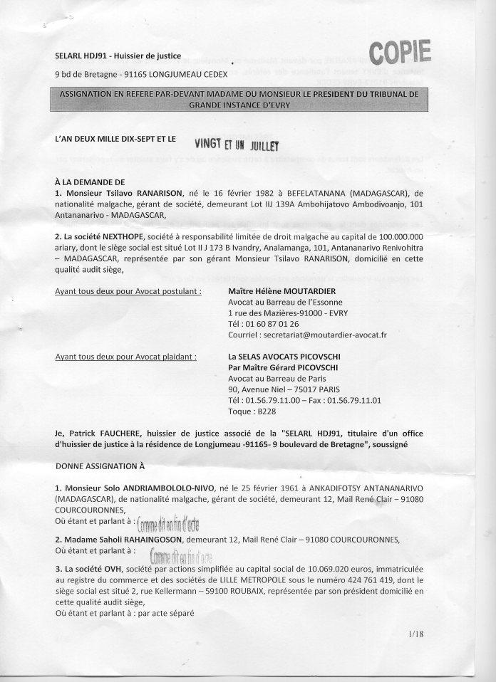 Le résumé de la plainte de RANARISON Tsilavo, simple associé de CONNECTIC, contre son patron Solo à travers son assignation en référé pour diffamation au TGI d'Evry (France) pour une audience le 19 septembre 2017