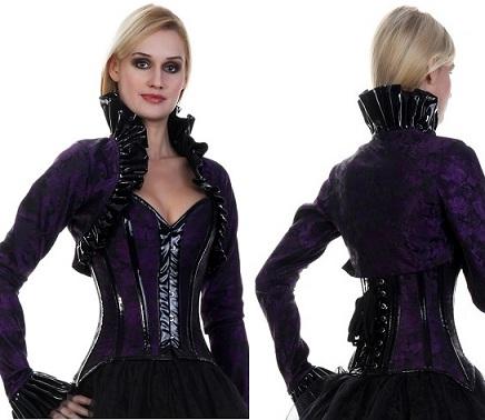 Renaissance Gothic Victorian Peasant PVC Corset Bolero Jacket Set [CD-281]
