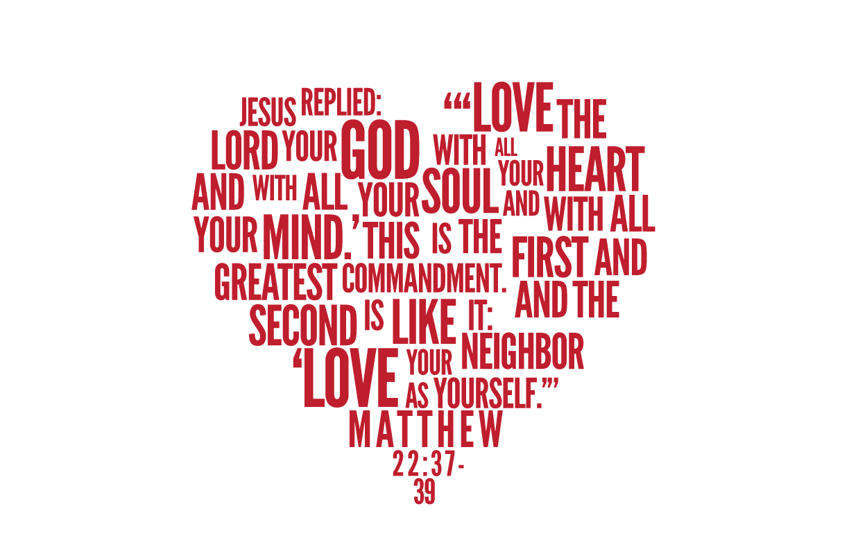 heart containing the text matthew 22:37-40