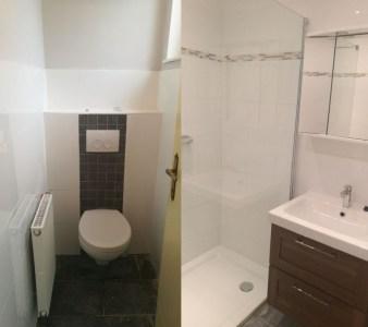 Left: toilet room, right: shower room