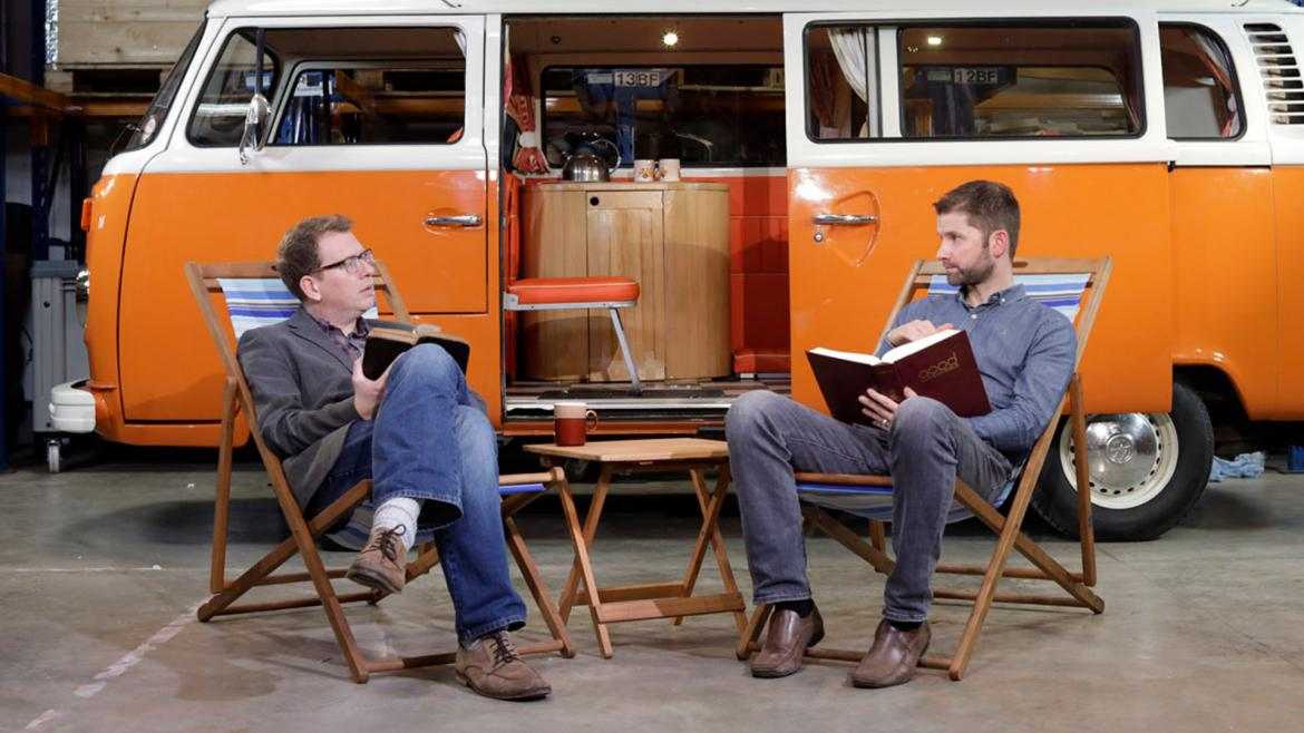 comedian Paul Kerensa and The Bible Course creator, Dr Andrew Ollerton discuss in front of a camper van