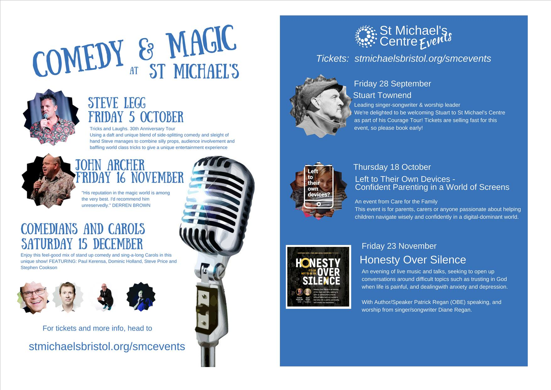 Flyer for events in autumn 2018 at St Michael's Stoke Gifford. Details in the text of the page.
