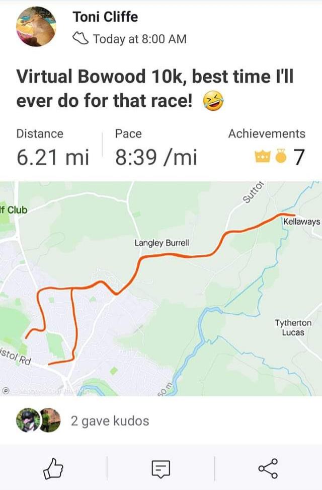 Virtual Bowood 10K Race Report by Toni Cliffe
