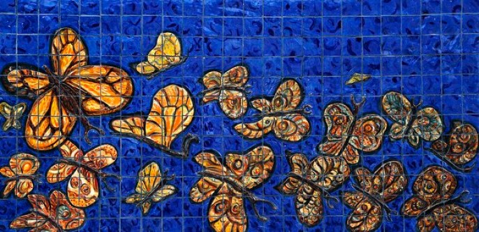 "Xavier Cortada, ""Baile De Las Mariposas (detail),"" ceramic, 2013"