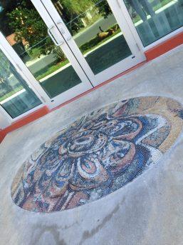 "Xavier Cortada, ""Flor,"" stone mosaic, 2013"