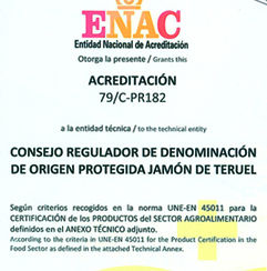 Jamón de Teruel, 1ª DO de jamón en España que consigue la acreditación de ENAC