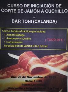 Curso de iniciación al corte de jamón a cuchillo en Calanda (Teruel)