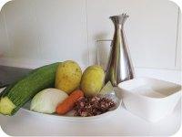 Receta de crema de calabacín con salteado de jamón ibérico