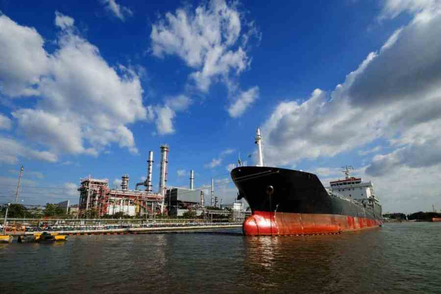 A ship in refinery port