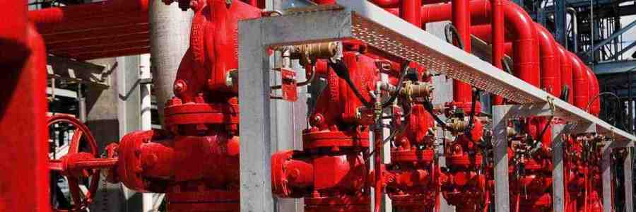 Red pipes and valves