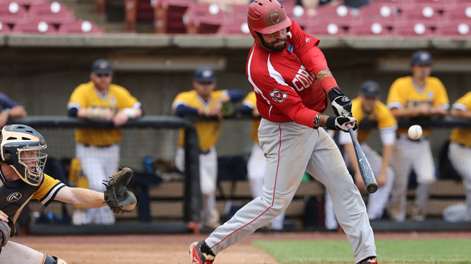 SUNY Cortland shortstop Paul Dondero cleared the left field fence with this seventh inning swing in the team's 1-0 World Series victory over Emory College Friday in Wisconsin.