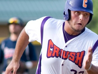 Andrew Taft of the Cortland Crush rounds third to score a run in the first inning against the Syracuse Salt Cats on Thursday at Greg's Field.