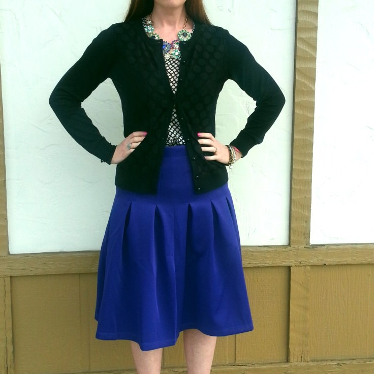 Necklace: Banana Republic Blouse: Gap Cardigan: Banana Republic Skirt/Shoes: ASOS