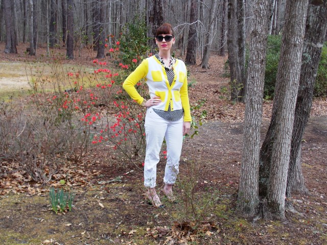 Cardigan: Crown & Ivy Blouse: Gap Jeans: Madison Shoes: Kate Spade Necklaces: JCREW Sunglasses: Colehaan