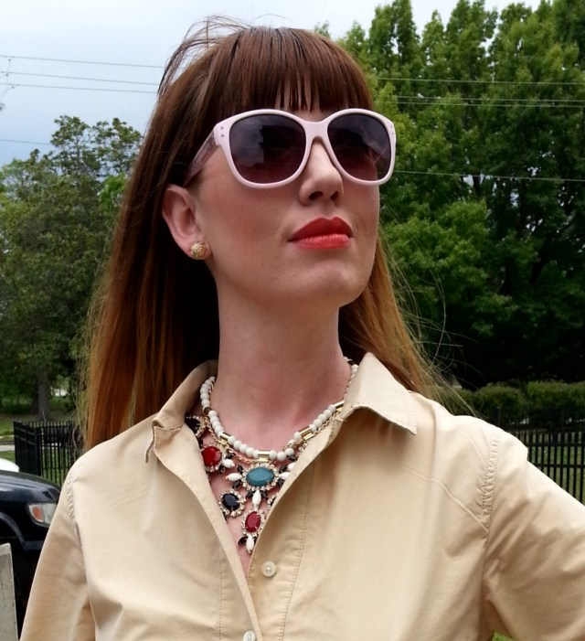 Dress: JCREW Shoes: Banana Republic Necklace: Bealles Watch: Kate Spade Belt: Gap Sunglasses: UnionBay