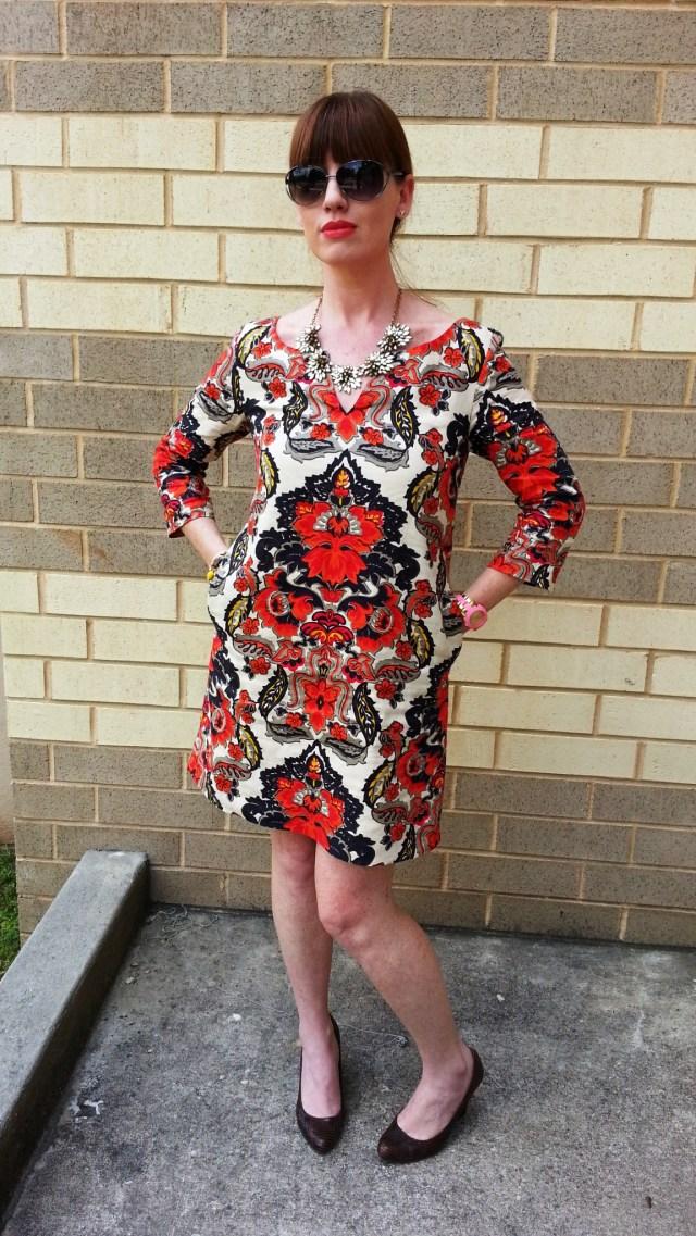 Jacket: Old Navy Dress: JCREW Shoes: MaxStudio Sunglasses: Fossil Bracelet/Necklace: JCREW Watch: Kate Spade