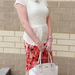 Peplum top: Cynthia Rowley Necklace: Chloe+Isabel Skirt: Ann Taylor LOFT Shoes: ColeHaan Nike Air Watch: Kate Spade Bag: Kate Spade Sunnies: UnionBay