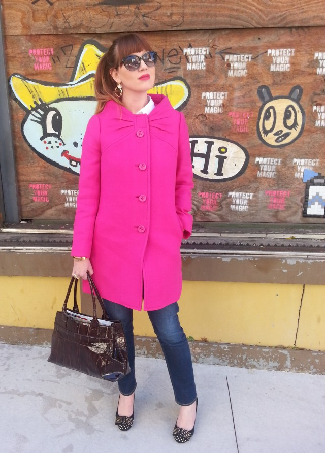 Coat: Kate Spade NY Bag: Kate Spade NY Jeans: Arizona Heels: JCREW Sunnies: Franco Sarto
