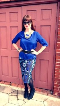 Skirt: Bisou Bisou Blouse: Ann Taylor LOFT Necklace: Lydell NYC Bracelet: Lucky Brand Shoes: Rampage Belt: Express