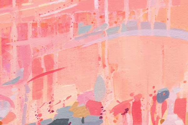 Confetti and Celebration print by Cortney North, coral and pink wall art