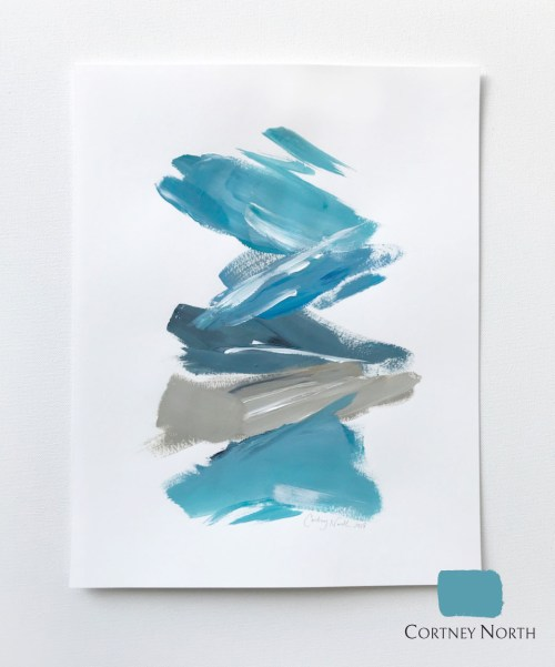 Abstract Expressionist Blue and Turquoise Painting Series by Cortney North